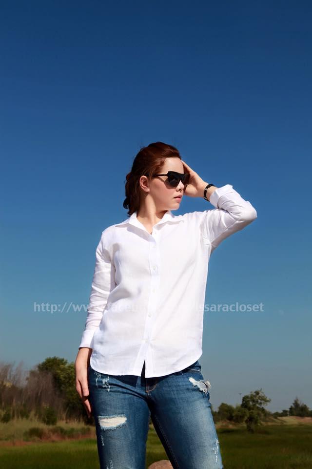 เสื้อเชิ้ต -ลินิน : สีขาว Power White