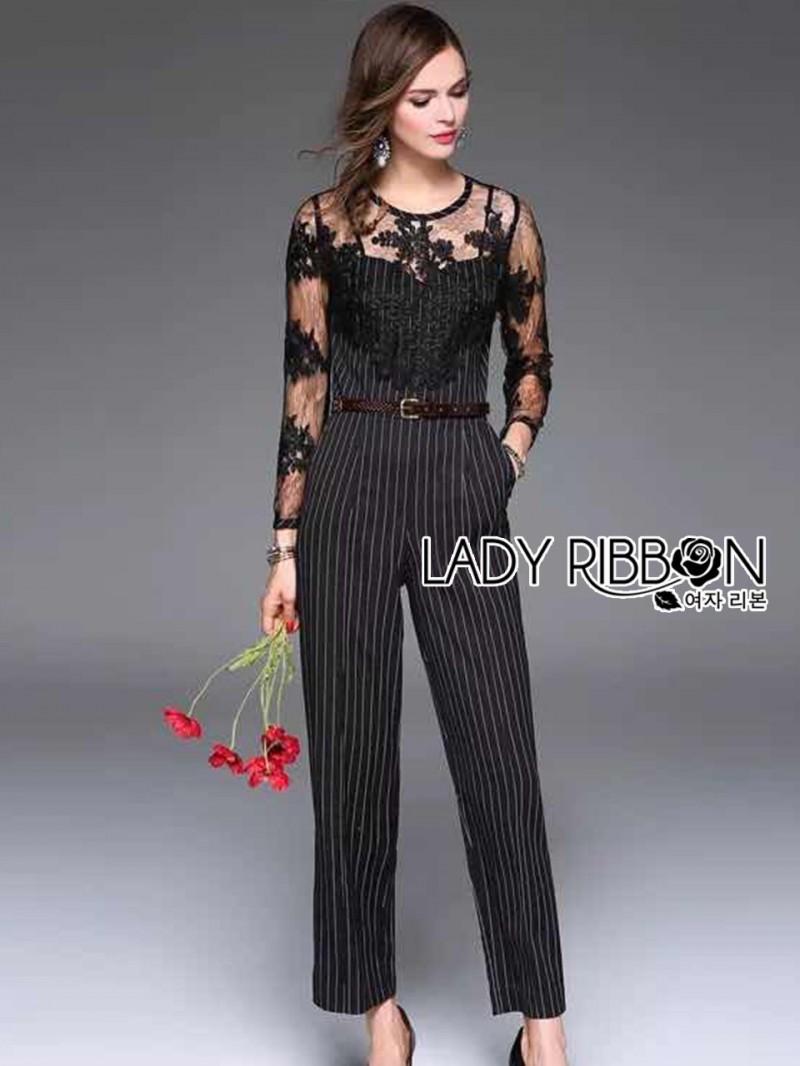 เสื้อผ้าแฟชั่นเกาหลี Lady Ribbon's Made Lady Francesca Smart Casual Vertical Stripes with Inserted Lace Jumpsuit