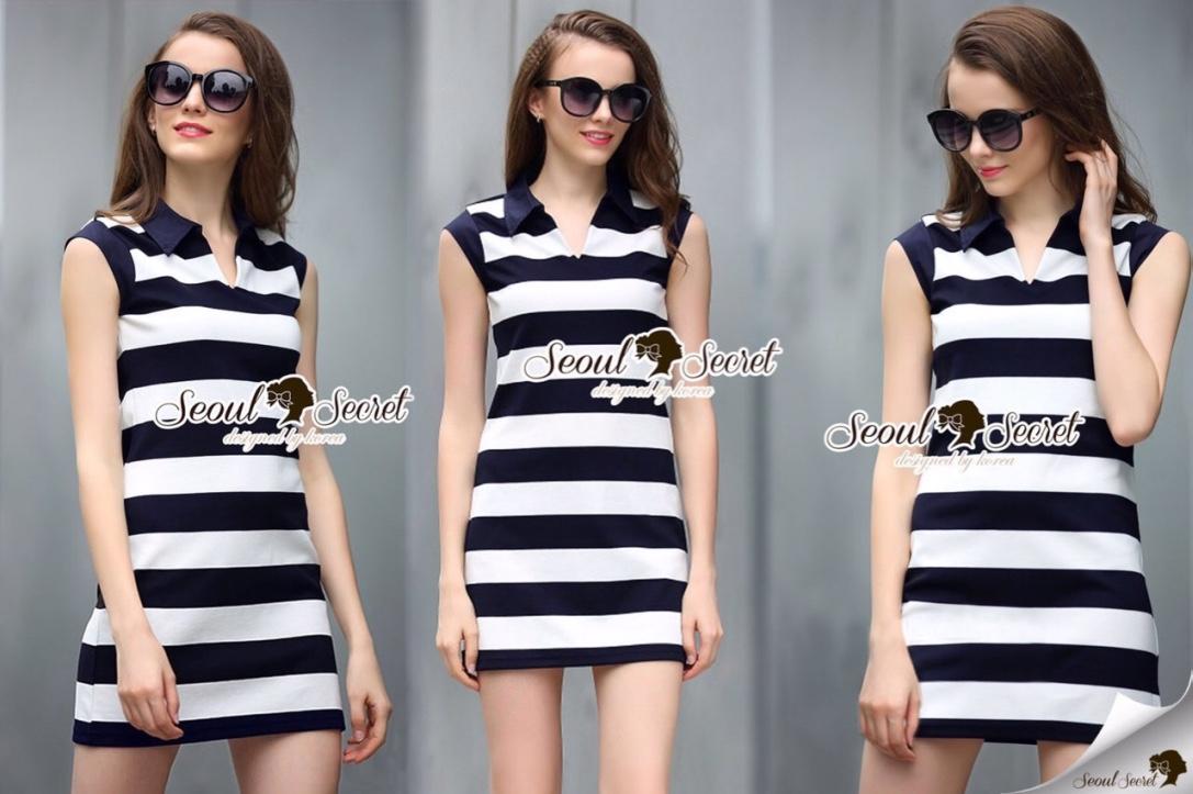 Seoul Secret Say's... Stripy chic chilly dress