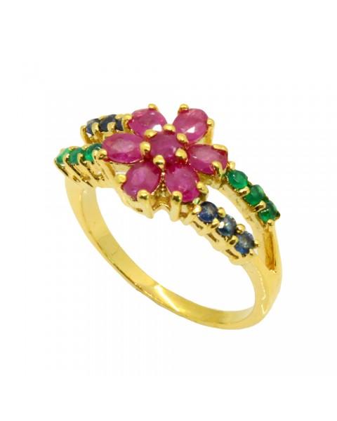 แหวนพลอยแท้ประดับโมรา ไพลิน ทับทิม ตัวเรือนอัลลอยด์หุ้มทองคำแท้