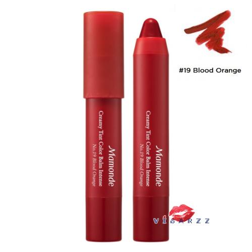 (#19 Blood Orange) Mamonde Creamy Tint Color Balm Intense 2.5g ลิปแมทท์ที่ดังมากในประเทศเกาหลี สีแน่นคมชัด ไม่ทำให้ปากแห้งและจับตัวเป็นก้อน