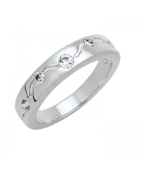 แหวนประดับเพชรฝังหุ้ม 5 เม็ด หุ้มทองคำขาวแท้