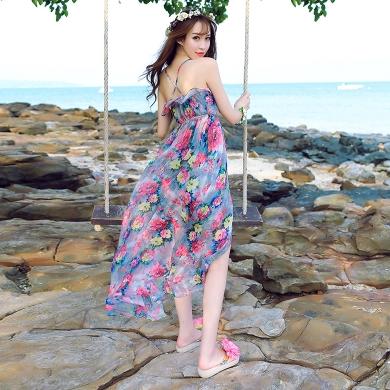 ชุดไปเที่ยวทะเลสวยๆ เดรสยาวลายดอกไม้ สามเดี่ยว ผ้าชีฟองสวยพริ้ว