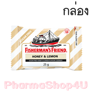 (ยกกล่อง 24ซอง) Honey&Lemon Fisherman's Friend Sugar Free Flavour Lozenges 25g ฟิชเชอร์แมนส์ เฟรนด์ ยาอม บรรเทาอาการระคายคอ กลิ่นน้ำผึ้งมะนาว