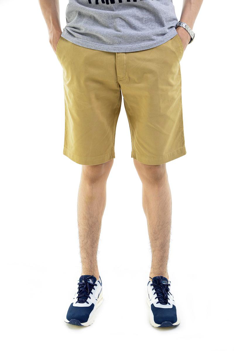 กางเกงขาสั้นผู้ชายสีกากี ผ้าฟอกนิ่ม