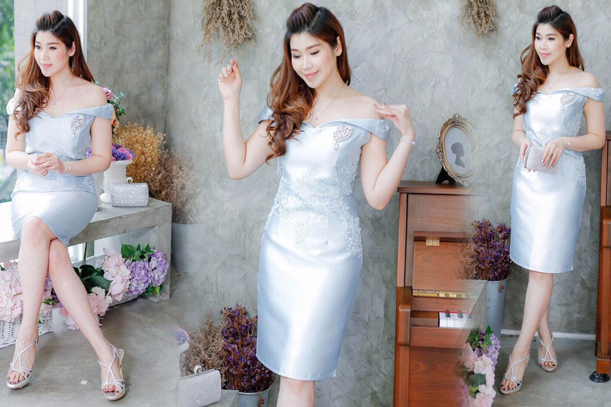 ชุดไปงานแต่งงานสีฟ้า เปิดไหล่ ผ้าไหมอิตาลี
