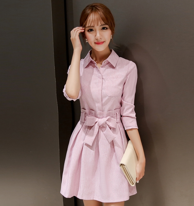 ชุดเดรสทำงานสีชมพู คอเชิ้ต แขนยาว ลุคสาวทำงานออฟฟิศ คุณครู พนักงานบริษัทสวยๆ