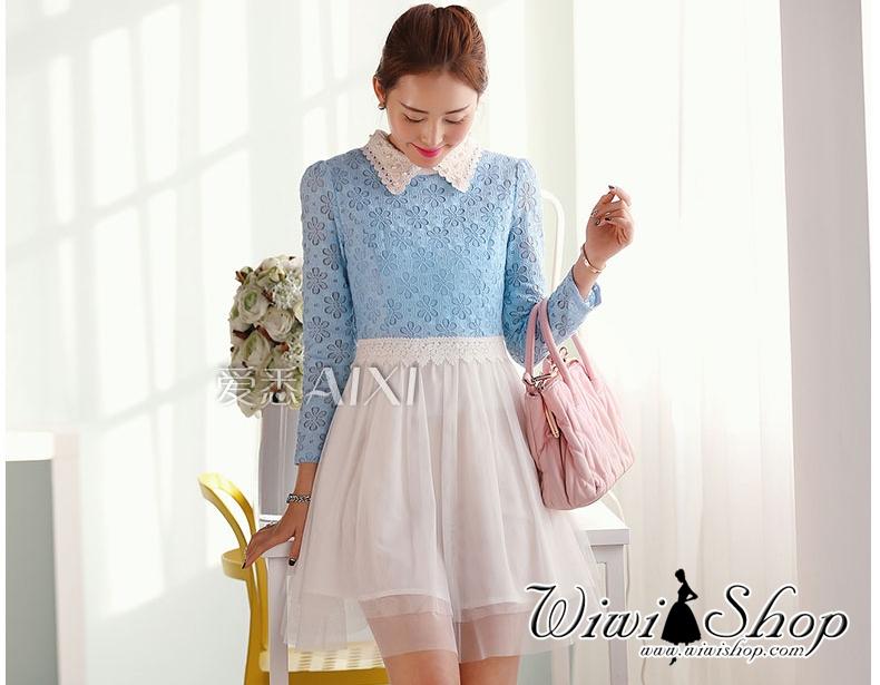 ชุดเดรสสีฟ้า ขาว ผ้าลูกไม้ คอปกประดับด้วยมุก แขนยาว แนว สวยหวาน น่ารักๆ ดูดี