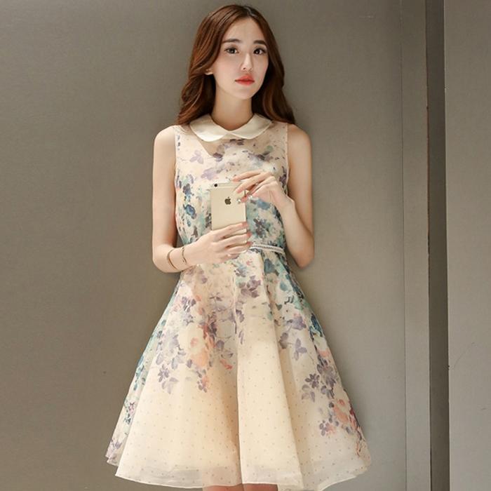 ชุดเดรสสีครีมสวยๆ พิมพ์ลายน่ารักๆ คอปก แขนกุด สวยหวาน น่ารัก สไตล์เกาหลี