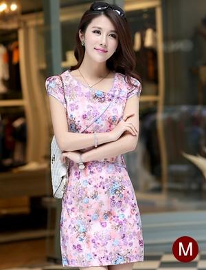 ชุดเดรสทำงานสวยๆ สีชมพู ลายดอกไม้ คอจีน ทรงเข้ารูป แขนสั้น ผ้าคอลตอลยืด size M