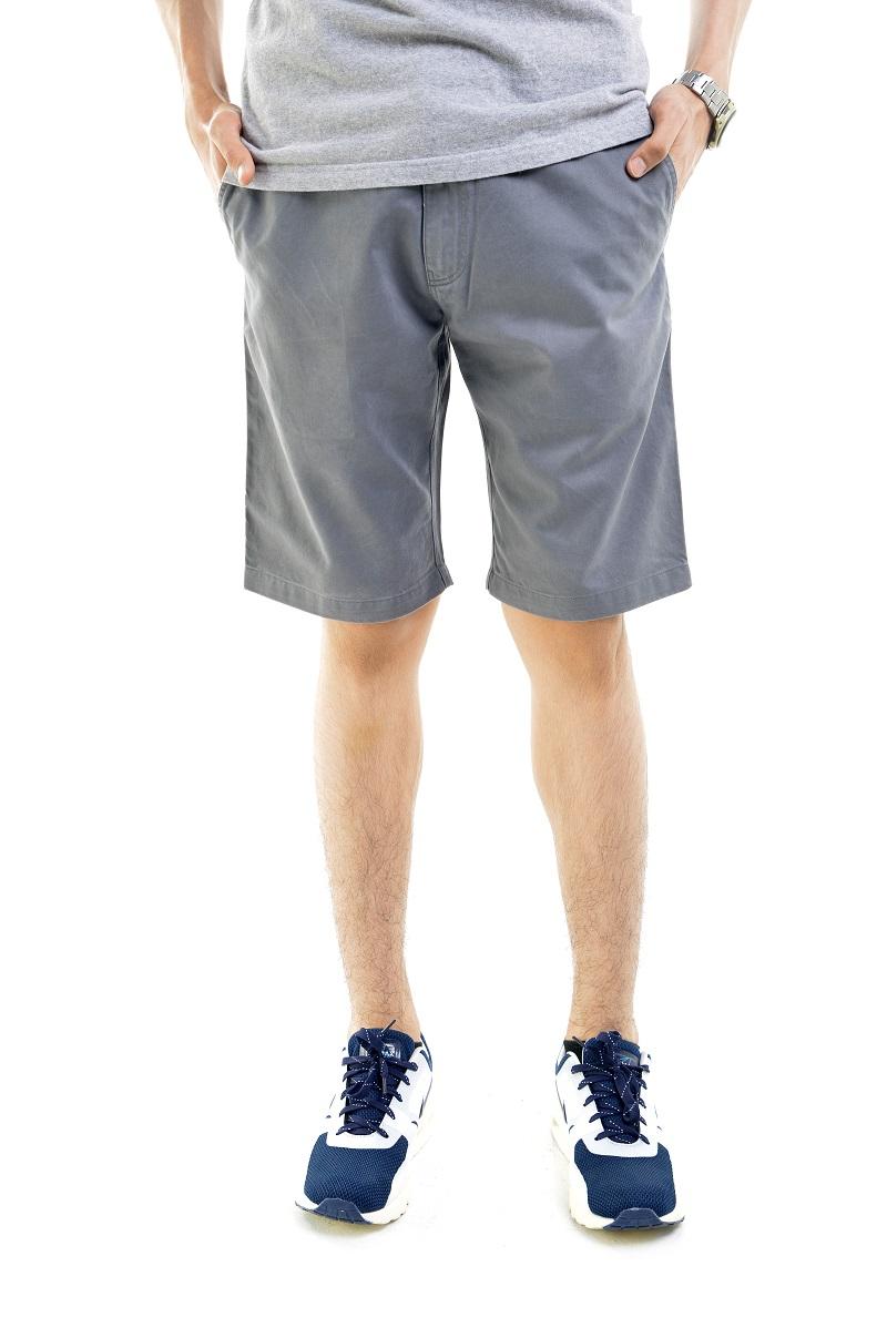 กางเกงขาสั้นผู้ชายสีเทา ผ้าฟอกนิ่ม