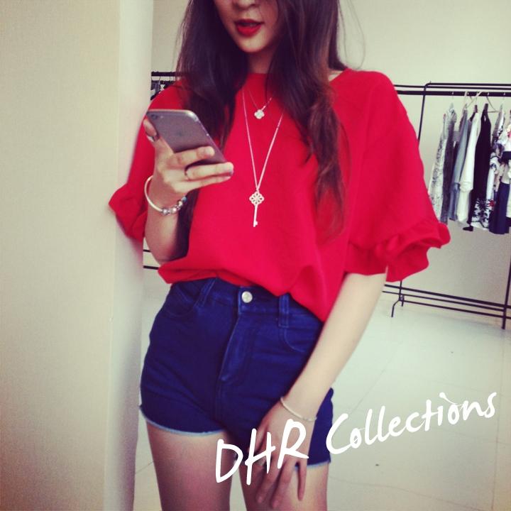 (SALE) เสื้อแฟชั่น แขนตุ๊กตา ซิปหลัง สีแดง