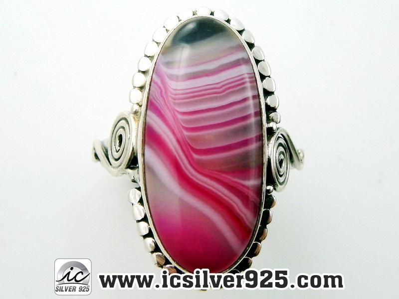 ▽บอสวาน่า อาเกต (Pink Botswana Agate)แหวนเงินแท้ 925(แหวนเบอร์ : 56) 5.9g