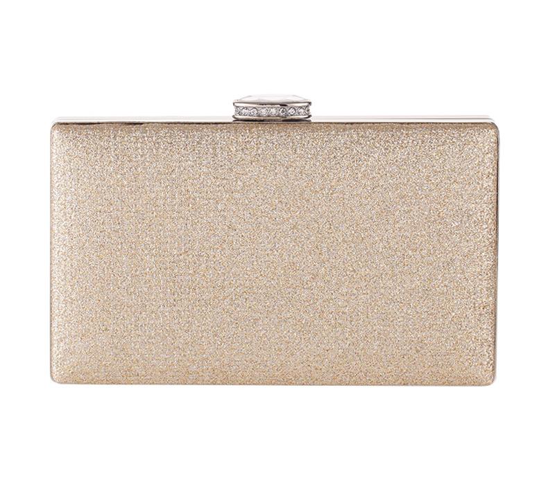 กระเป๋าถือออกงานสีทอง ทรงสี่เหลี่ยม หนังเพชรระยิบระยับสวยหรู