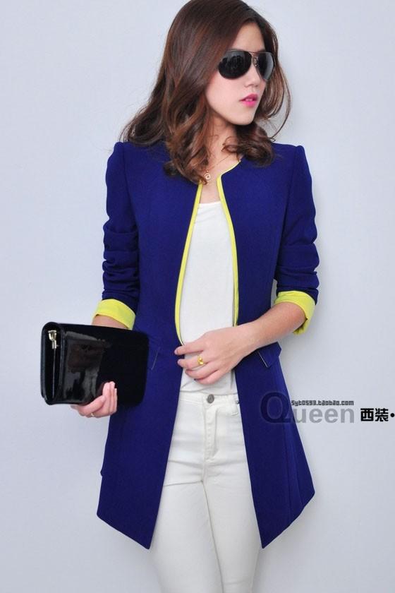 (ยกเลิกผลิต) เสื้อสูทแฟชั่น เสื้อสูทผู้หญิง สีน้ำเงิน แต่งปลายแขนสีเหลือง ตัวยาวคลุมสะโพก