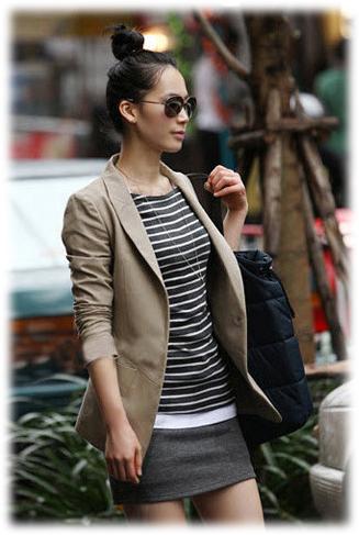 เสื้อสูทแฟชั่น เสื้อสูทผู้หญิง สีกากีเข้ม สูทลำลอง