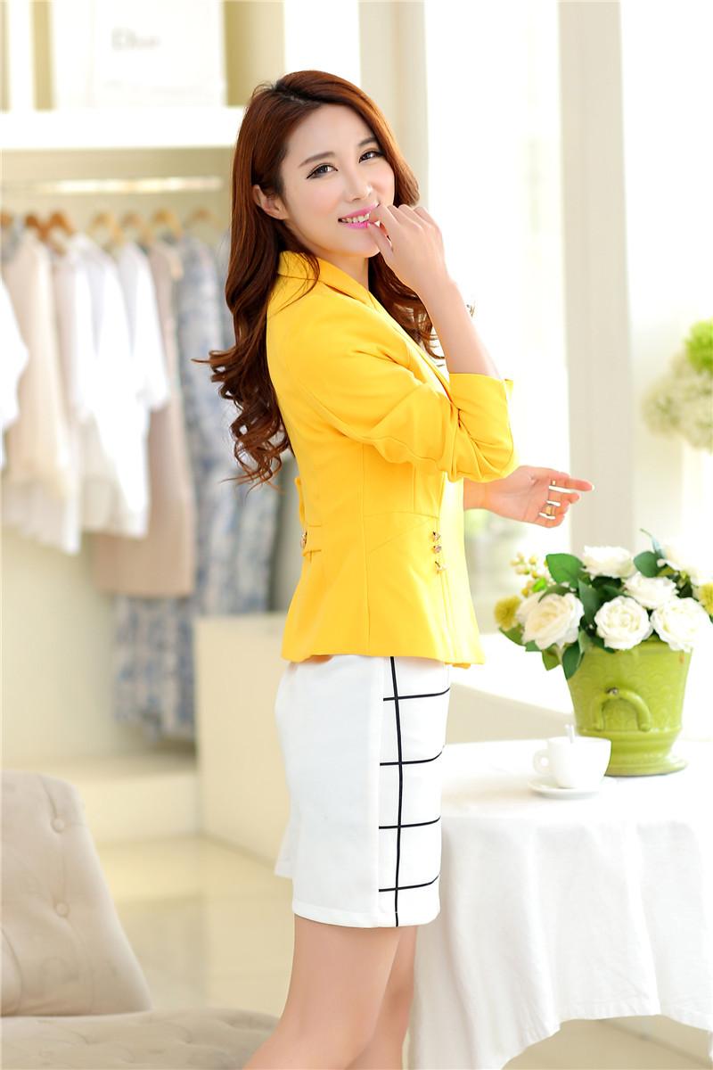 เสื้อสูทแฟชั่น เสื้อสูทผู้หญิง สีเหลือง แขนยาว ทรงเข้ารูป