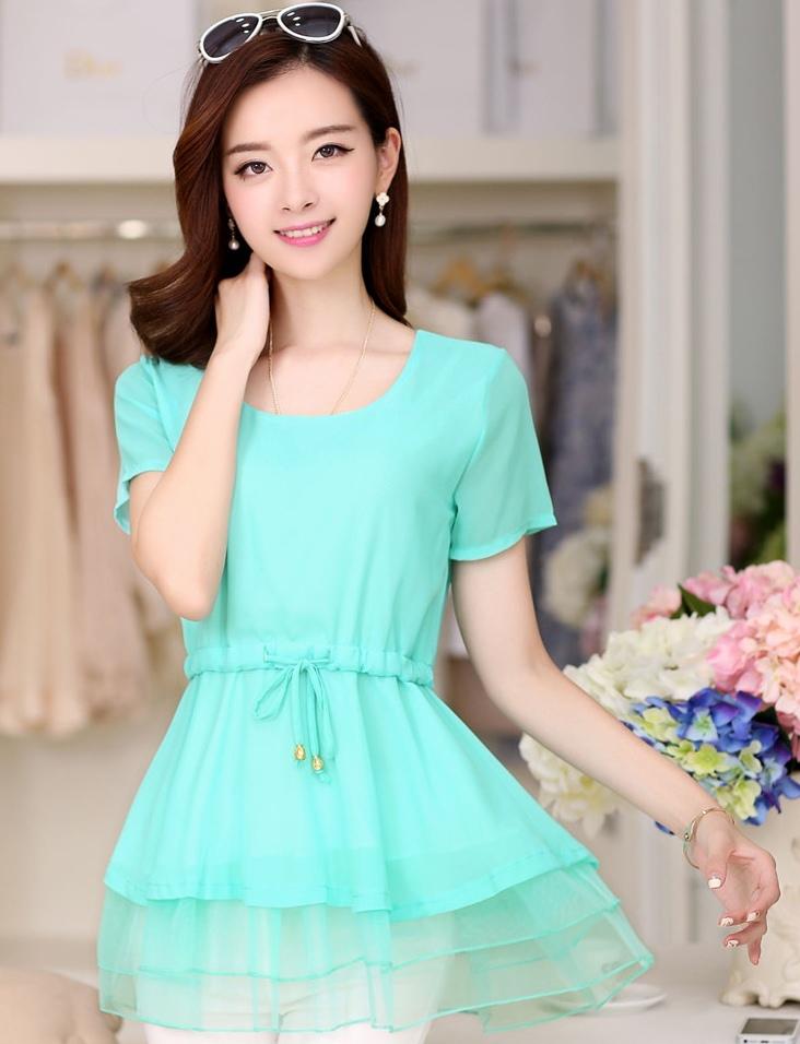 เสื้อแฟชั่นเกาหลี สีเขียวมิ้น ผ้าชีฟอง คอกลม แขนสั้น เอวสายรูด ปลายเสื้อเป็นผ้าแก้วเป็นระบายเก๋ๆ