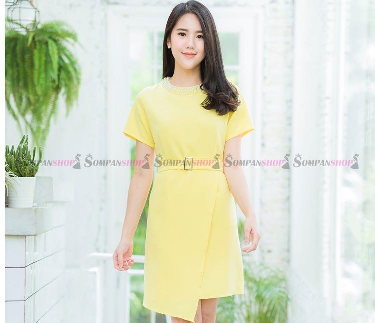 ชุดเดรสสั้นสีเหลือง คอแต่งมุกสวยๆ กระโปรงทรงเอป้าย : สินค้าพร้อมส่ง M L XL