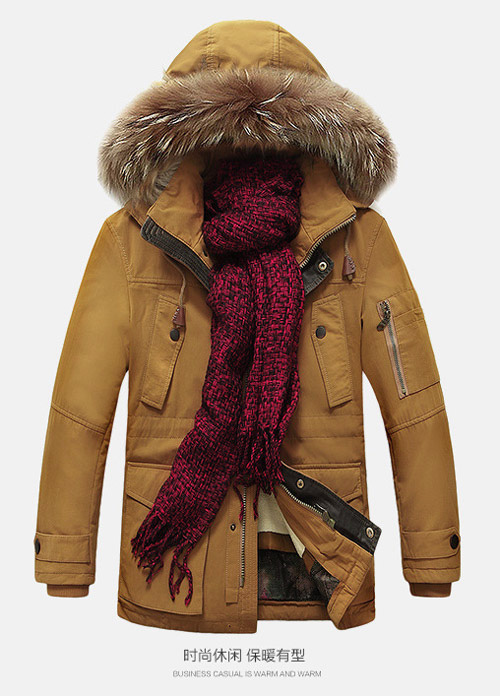 เสื้อกันหนาวผู้ชาย เสื้อแจ็คเก็ตผู้ชายมีฮู้ดติดเฟอร์ เท่ๆ สีกากี ซับบุขนอุ่นๆ
