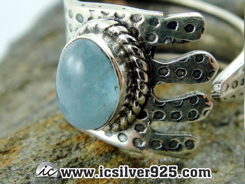 ▽คาลซิโดนีสีฟ้า Blue Chalcedony แหวนเงินแท้ 925(แหวนเบอร์ : 55 , 3.2g )