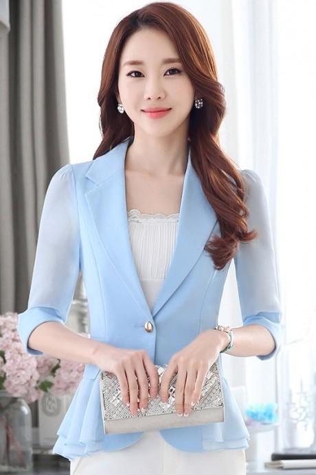 เสื้อสูทแฟชั่น เสื้อสูทผู้หญิง สีฟ้า แขนพับสามส่วน แต่งระบายด้านหลังด้วยผ้าชีฟอง