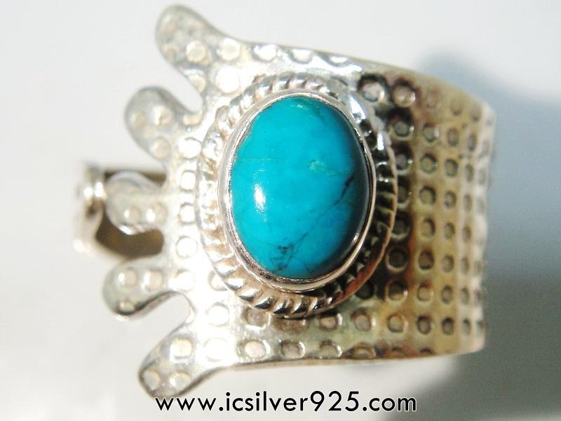 คริสโซโคลล่า Chrysocolla- เปรู-แหวนเงินแท้ 925 -(แหวนเบอร์ : 58)