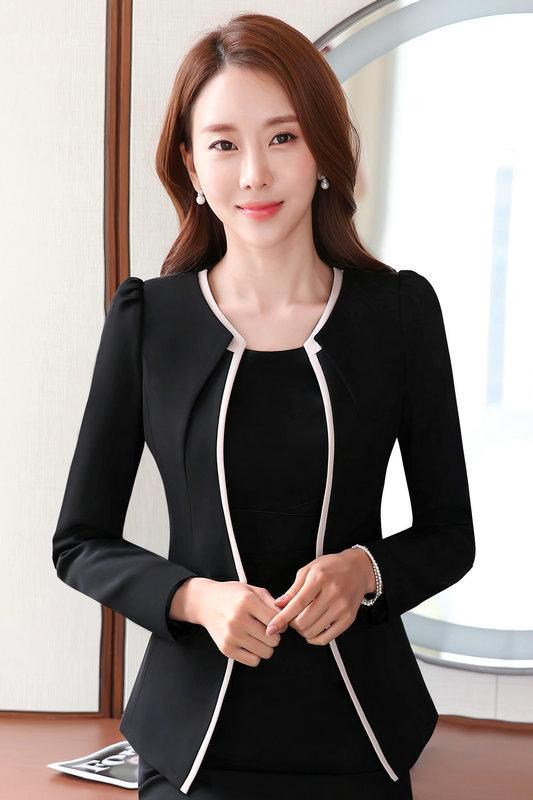 เสื้อสูทแฟชั่น เสื้อสูทผู้หญิง สีดำ คอวี แต่งขลิบสีครีม
