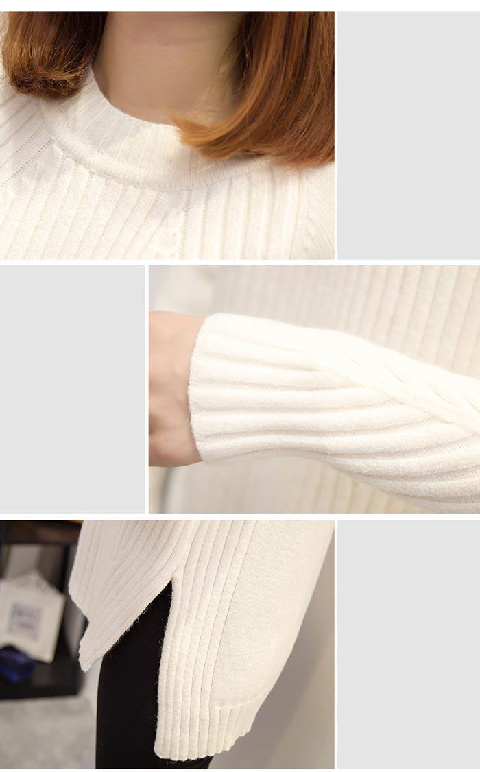 เสื้อไหมพรมแฟชั่นกันหนาว เสื้อสเวตเตอร์คอกลม สีเทา แขนยาว ยาวคลุมสะโพก น่ารัก