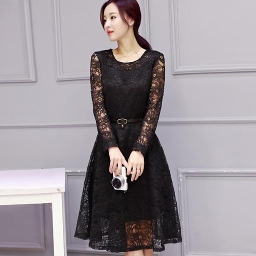 ชุดเดรสลูกไม้สีดำ แฟชั่นเกาหลี สไตล์สาวหวาน เรียบร้อย ดูดี