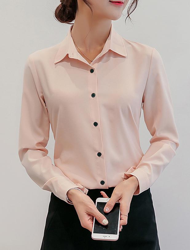 เสื้อเชิ้ตผู้หญิงทำงานสีชมพูโอรส แขนยาว