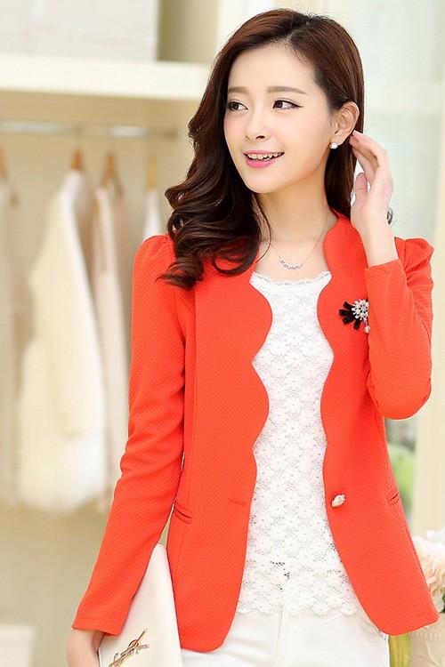 เสื้อสูทแฟชั่น เสื้อสูทผู้หญิง สีส้ม แขนยาว แต่งเว้าช่วงหน้าอก