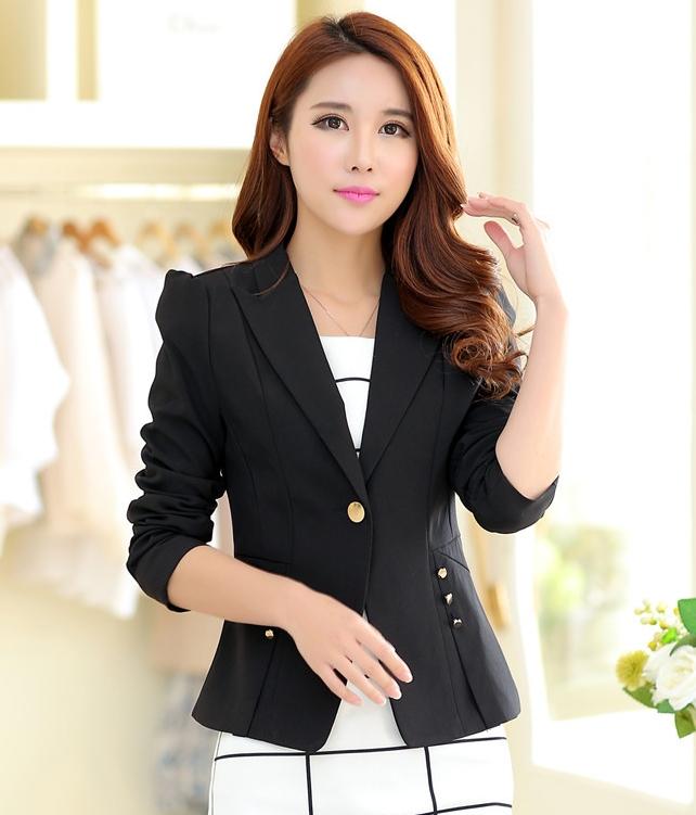 (สินค้าหมด) เสื้อสูทแฟชั่นผู้หญิง เสื้อสูททำงาน สีดำ คอปก แขนยาว ออกแบบกระเป๋าเก๋ เนื้อผ้าดี ใส่ทำงานได้