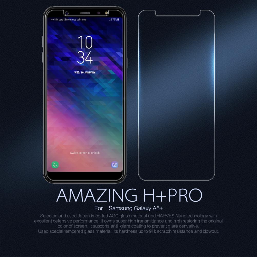 กระจกนิรภัย NILLKIN 9H+ PRO Galaxy A6+ / A6 Plus 2018 แถมฟิล์มติดเลนส์กล้อง