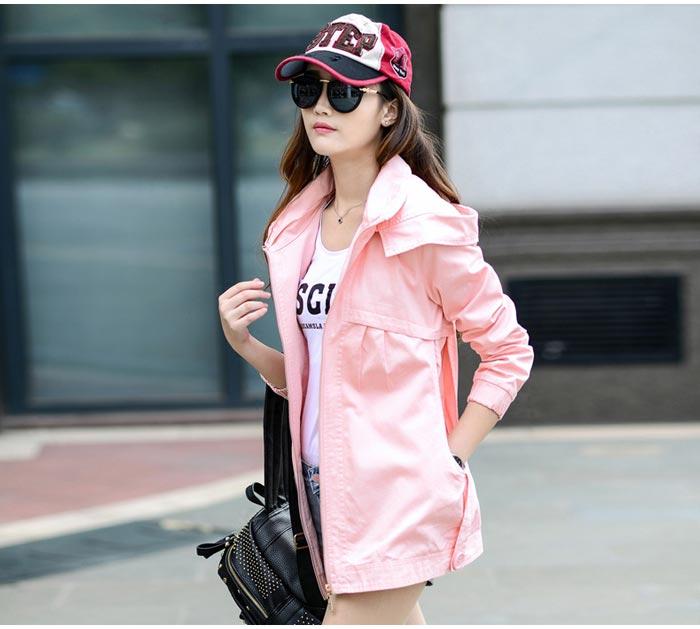 เสื้อกันหนาวผู้หญิงแฟชั่นเกาหลี สีชมพู แจ็คเก็ต มีฮู้ด ตัวยาวคลุมสะโพก เท่ๆ