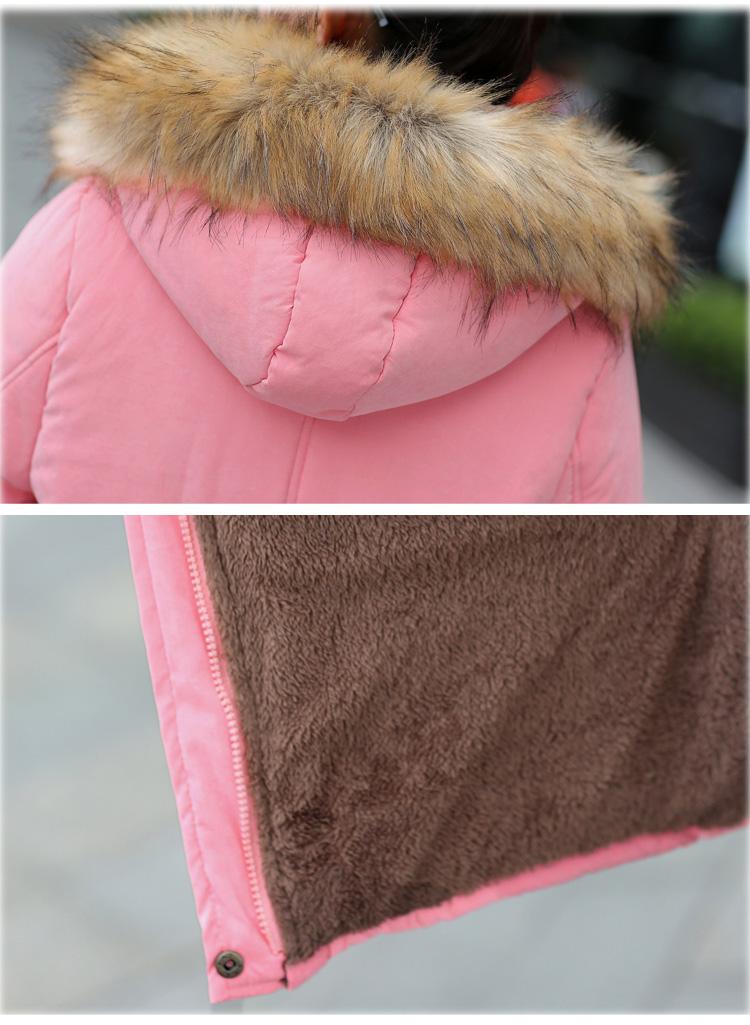 เสื้อกันหนาวผู้หญิงแฟชั่นเกาหลี สีชมพูหวาน แต่งสายรูดช่วงเอว มีฮูท ผ้าขนสัตว์เย็บติดกับฮูท ถอดออกไม่ได้ค่ะ
