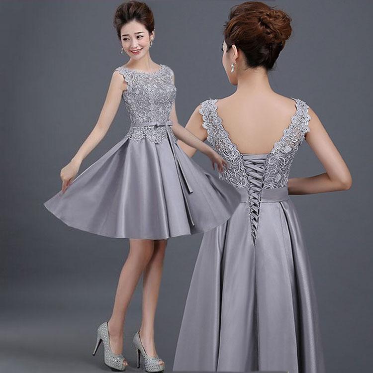 ชุดไปงานแต่งงาน ชุดออกงานสวยหรูสีเทาเงิน ผ้าลูกไม้+ผ้าไหมอิตาลี แขนกุด