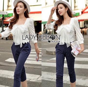Lady Ribbon Online ขายส่งเสื้อผ้าออนไลน์ ขายส่งของแท้พร้อมส่ง Lady Ribbon LR07250716 &#x1F380 Lady Ribbon's Made &#x1F380 Lady Natasha Sweet Smart Ribbon and Striped Jumpsuit