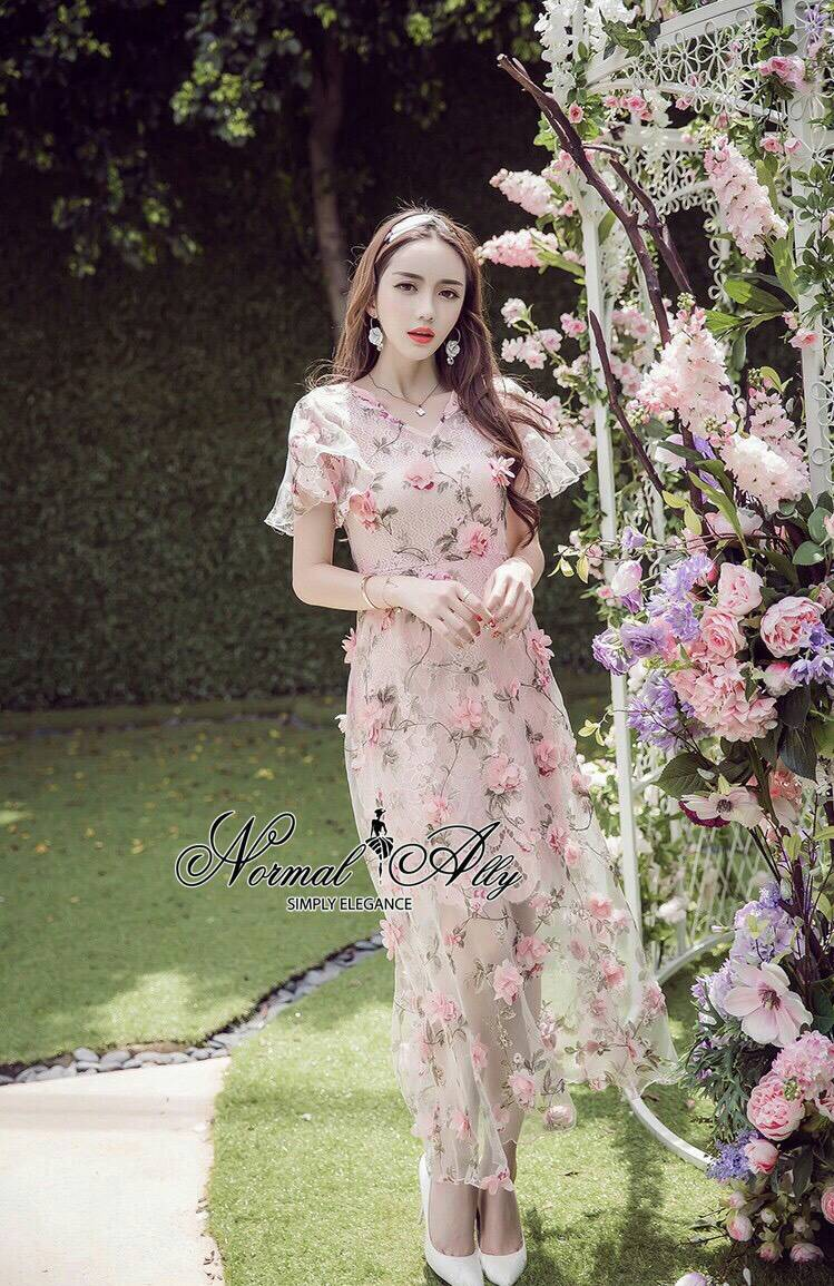 Normal Ally Present Sweet moment flower maxi dress