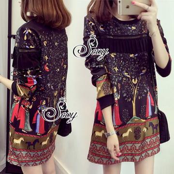 Lady Ribbon Online เสื้อผ้าแฟชั่นออนไลน์ขายส่ง เลดี้ริบบอนของแท้พร้อมส่ง sevy เสื้อผ้า SV16240716 BEST SELLER-Restock &#x1F389Sevy Pharaoh Egypt Style Long Sleeve Mini Dress