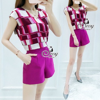 Sevy Two Pieces Of Shocking Pink Square Blouse With Shorts Sets