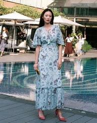 Maxi Dress แขนกว้าง สีพาสเทล