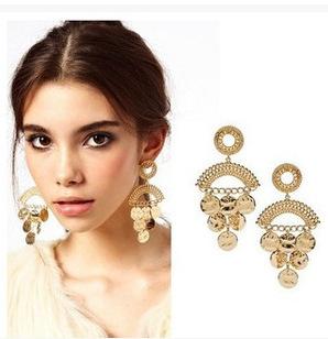 F597 - ต่างหูทอง ตุ้มหูทอง ตุ้มหู ต่างหู ต่างหูทองคำ เครื่องประดับ golden disc drop earrings