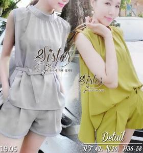 ผ้าแฟชั่นเกาหลีเซ็ตเสื้อ+กางเกงขาสั้นใส่เข้าชุดกัน เนื้อผ้าpolyester