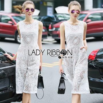 Lady Ribbon Online เสื้อผ้าออนไลน์ ขายส่งของแท้ราคาถููก LR06110716 &#x1F380 Lady Ribbon's Made &#x1F380 Lady Katy Smart Casual White Guipure Lace Jumpsuit