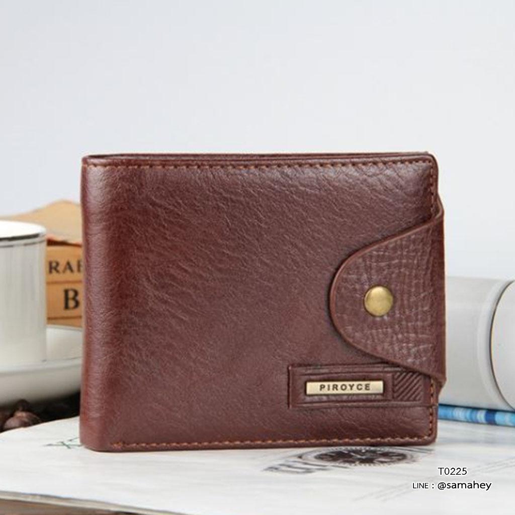 กระเป๋าสตางค์ผู้ชาย หนังแท้ ทรงสั้น Shidai Piroyce - สีน้ำตาล