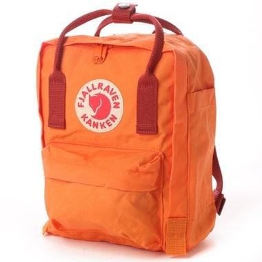 กระเป๋า Fjallraven Kanken Mini สีส้มสด Burnt orange & Deepred ส้มสายสะพายแดง พร้อมส่ง