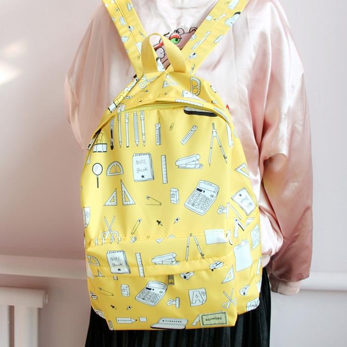 กระเป๋าเป้ผ้า Nylon พิมพ์ลายเครื่องเขียน (มีให้เลือก 4 สี)