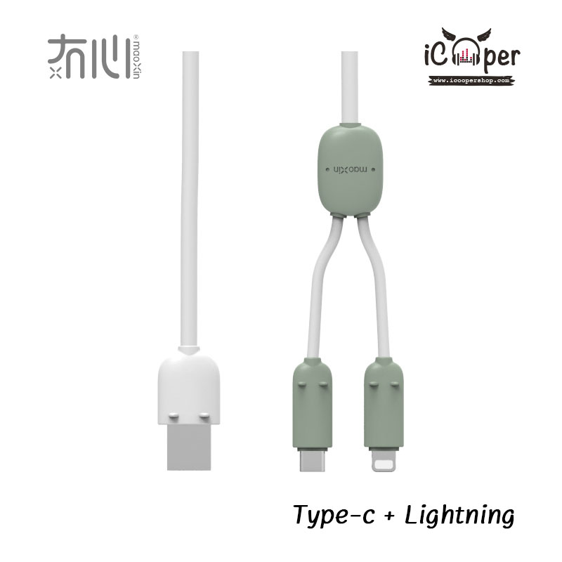 MAOXIN Two Line Charger Cable - Gray Green (Lightning + USB Type-C)