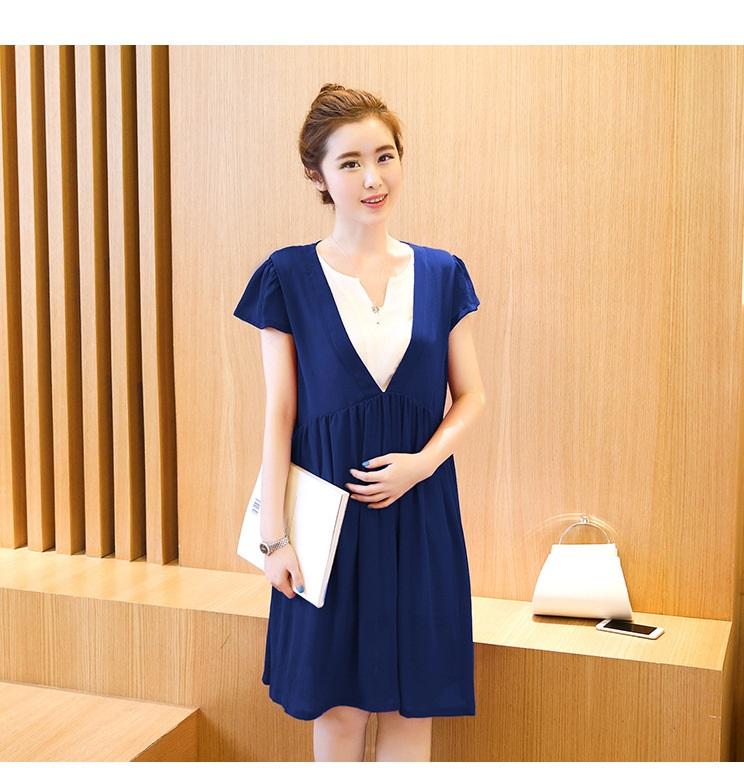 ชุดคลุมท้องสีน้ำเงิน ผ้าชีฟอง